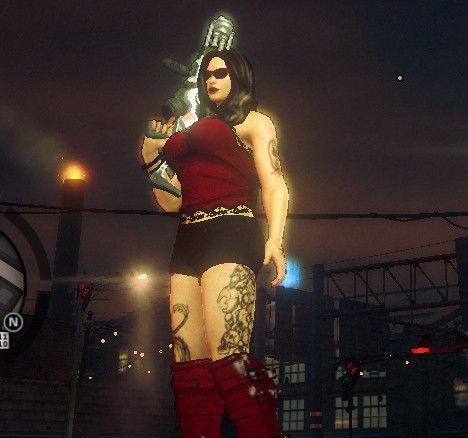 Me all busty and tatted and curvy. And a big gun.
