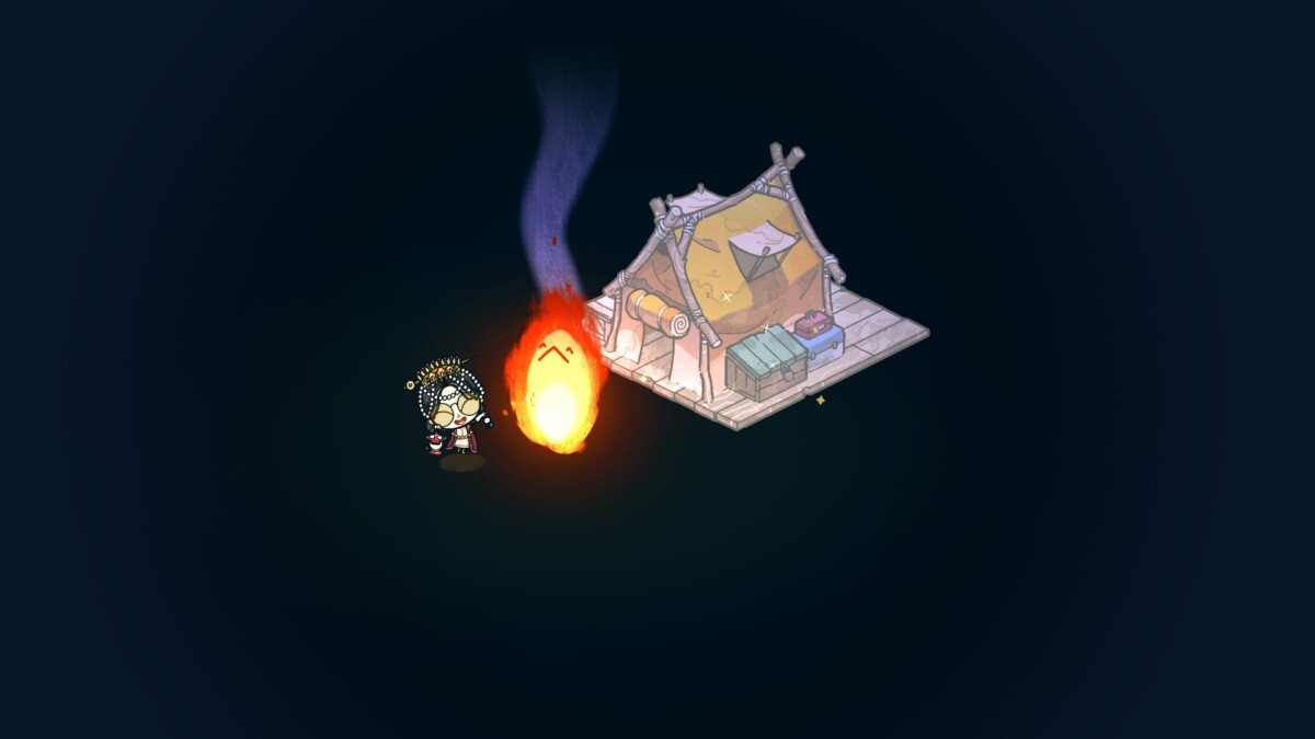 me standing by campfire leveling up my tent.
